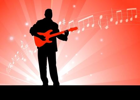 Illustration pour Guitar Player on Red Background Original Vector Illustration  Music Player Ideal for Live Music Concept - image libre de droit
