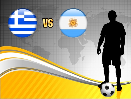 Greece versus Argentina on Abstract World Map Background