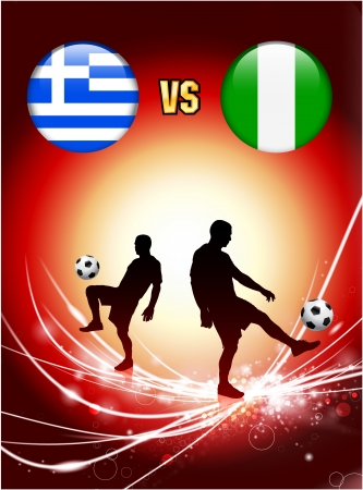 Greece versus Nigeria on Abstract Red Light Background