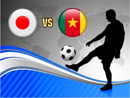 Japan versus Cameroon on Blue Abstract World Map Background