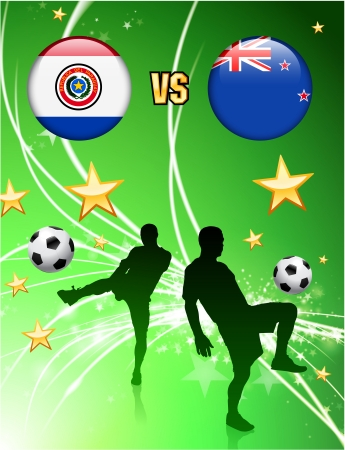 Paraguay versus New Zealand on Abstract Green Stars Background