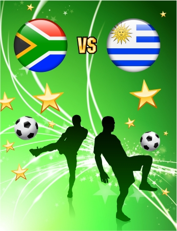 South Africa versus Uruguay on Abstract Green Stars Background