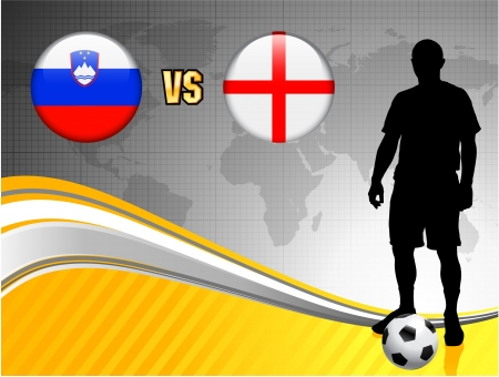 Slovenia versus England on Abstract World Map Background