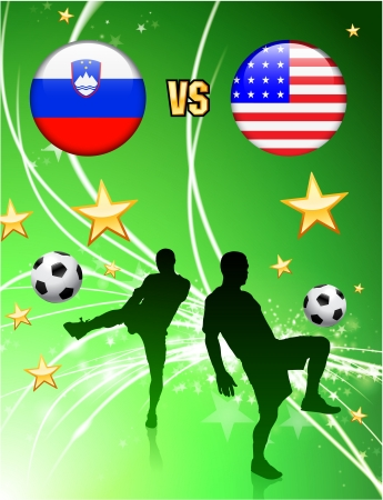 Slovenia versus United States on Abstract Green Stars Background