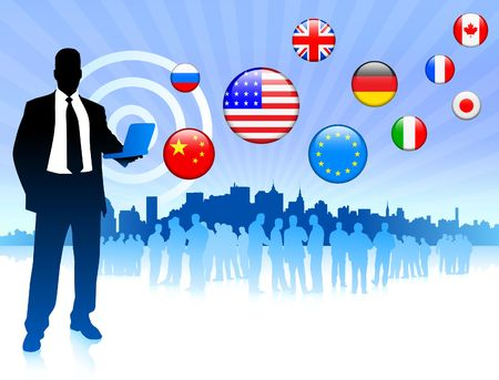 Photo for Businessman communication with internet flag buttons Original Vector Illustration - Royalty Free Image