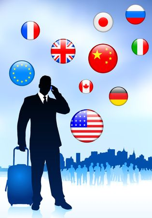 Photo for Businessman Traveler with Skyline and Internet Flag Buttons Original Vector Illustration - Royalty Free Image
