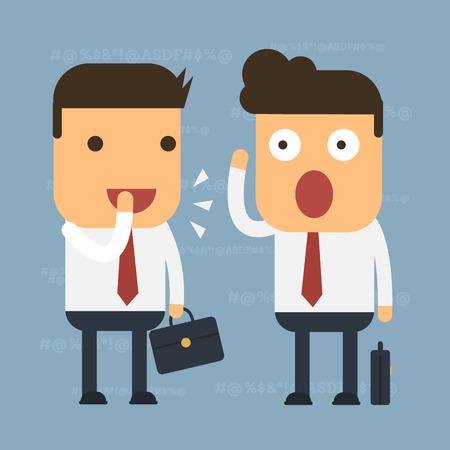 Illustration pour Two businessmen are gossip some people, Vector cartoon concept abstract business - image libre de droit