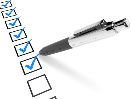 Photo pour Check list. Blue ticks in checkboxes and pen. 3D illustration. - image libre de droit