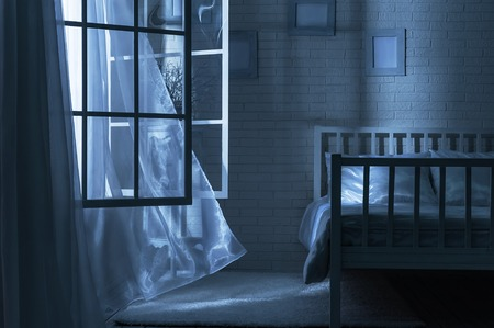Photo pour Bedroom with the window open and the breeze on a moonlit night - image libre de droit