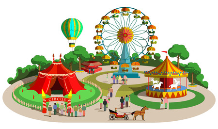 Illustration for Set of vector design composition with amusement park elements - Royalty Free Image