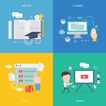 Illustration pour Element of education, tutorial, traning concept icon in flat design  - image libre de droit