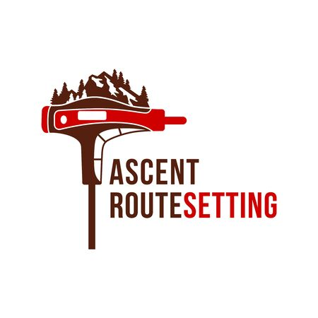 Illustration pour logo design of mountain climbing tools - image libre de droit