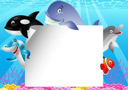 Illustration for Sea life cartoon with blank sign  - Royalty Free Image