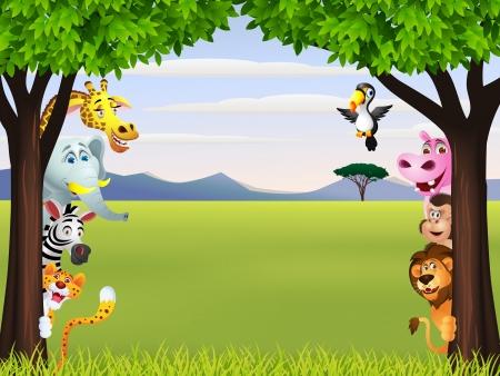 Illustration Of Funny wild African animal cartoon
