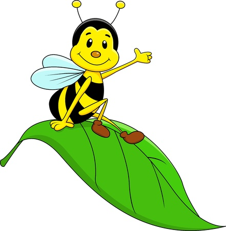 Photo pour Happy bee sitting on leaf - image libre de droit