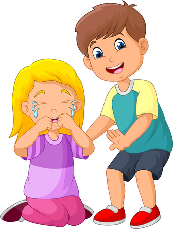 Illustration pour Cartoon little boy comforting a crying girl - image libre de droit