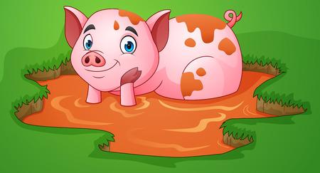 Ilustración de Cartoon pig playing a mud puddle in the farm - Imagen libre de derechos