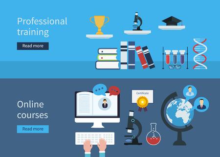 Ilustración de Flat stylish design for professional training concept and online courses. Flat vector elements for web applications and banners - Imagen libre de derechos