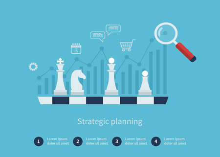 Illustration pour Set of flat design vector illustration concepts for data analysis, strategy planning and successful business - image libre de droit