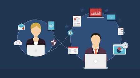 Ilustración de Concept of consulting services, project management, time management, marketing research, strategic planning. - Imagen libre de derechos