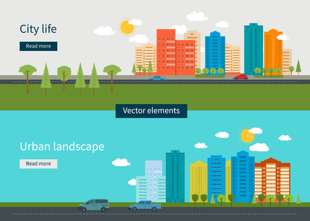 Illustration pour Flat design modern vector illustration icons set of urban landscape and city life. Building icon - image libre de droit
