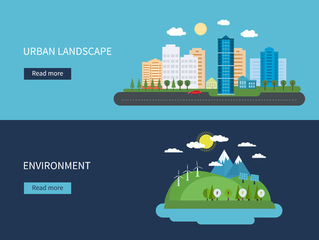 Illustration pour Flat design vector concept illustration with icons of environment, green energy and  urban landscape - image libre de droit