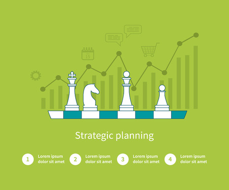 Illustration pour Set of flat design vector illustration concepts for data analysis, strategy planning and successful business. Thin line icons - image libre de droit