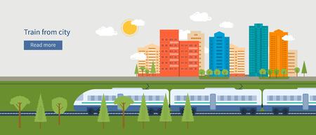 Ilustración de Flat design modern vector illustration icons set of urban landscape and train on railway - Imagen libre de derechos