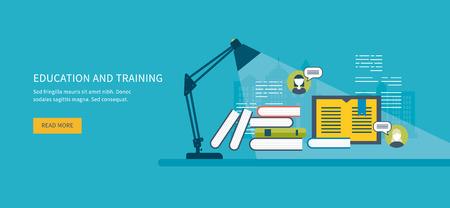 Illustration pour Flat design modern vector illustration icons set of online education, online training courses, web library, tutorials.  Distance communication and training - image libre de droit