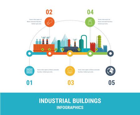 Illustration pour Industrial factory buildings illustration timeline infographic elements flat design. - image libre de droit