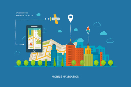 Foto de Vector illustration concept of  holding smart-phone with mobile navigation. Flat design modern vector illustration icons set of urban landscape and city life. Building icon. - Imagen libre de derechos
