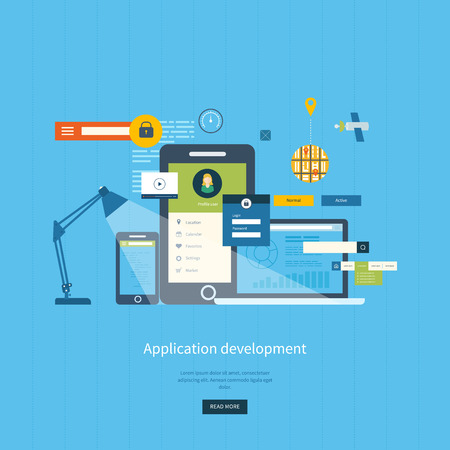Illustration for Modern flat design application development concept  for e-business, web sites, mobile applications, banners, corporate brochures. Vector illustration - Royalty Free Image