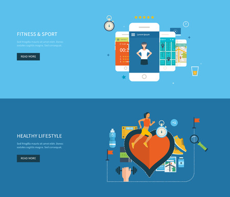 Foto de Modern flat vector icons of healthy lifestyle, fitness and physical activity. Healthy lifestyle concept. Vector mobile phone - fitness app concept on touchscreen. - Imagen libre de derechos