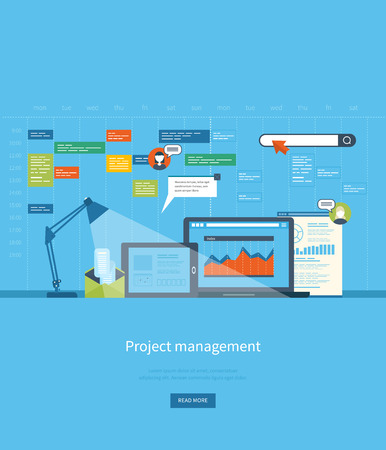 Ilustración de Flat design illustration concepts for business analysis and planning, consulting, team work, project management and development. Concepts web banner and printed materials. - Imagen libre de derechos
