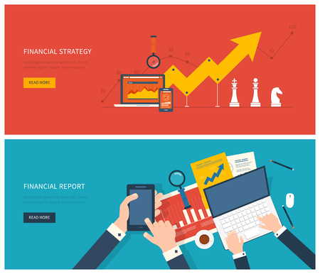Ilustración de Flat design modern vector illustration concept of analyzing project, financial report and strategy, financial analytics, market research and planning documents - Imagen libre de derechos