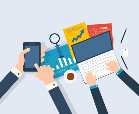 Illustration pour Flat design modern vector illustration concept of analyzing project, financial report and strategy, financial analytics, market research and planning documents - image libre de droit