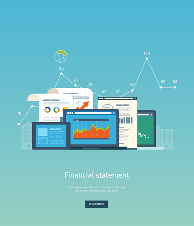 Illustration pour Flat design illustration concepts for business analysis, financial statement, consulting, team work, project management and development. Concepts web banner and printed materials. - image libre de droit