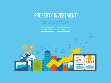 Ilustración de Flat design illustration concepts for business analysis and planning, financial report and strategy. Business diagram graph chart. Investment growth. Investment business. Property investment - Imagen libre de derechos