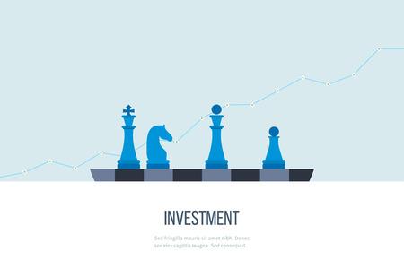 Illustration pour Flat line design concept for investment, finance, banking, market data analytics, strategic management.  - image libre de droit