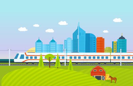 Foto de City, surroundings, landscape, fields and farms, subway, train, railroad, buildings. - Imagen libre de derechos