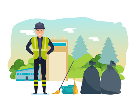 Ilustración de Worker collects garbage, sort, for further processing of household waste. - Imagen libre de derechos