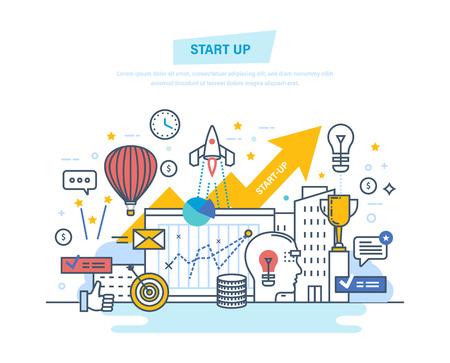 Illustration pour Startup, creative, modern information technology, business. Project development, professional growth. - image libre de droit