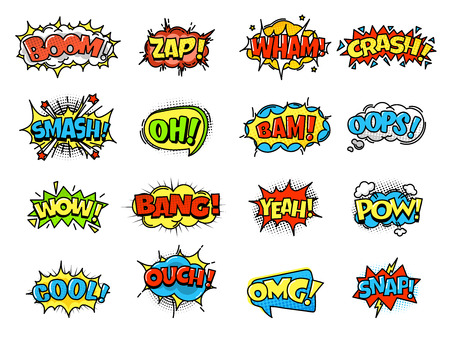 Ilustración de Collection of bright, colorful, multi-colored speech bubbles, with text and decorative texture. Template of clouds of different forms with messages. Vector illustration isolated. - Imagen libre de derechos
