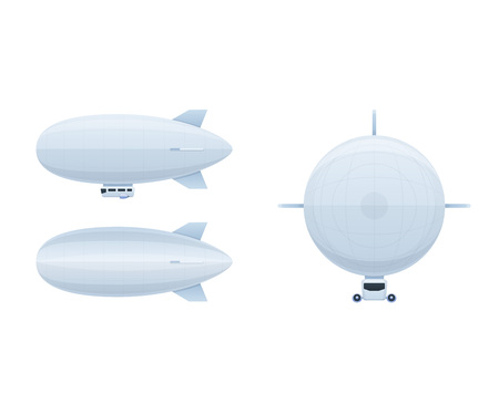 Illustration pour Modern air vehicles. Air balloon aerostat in different angles. - image libre de droit