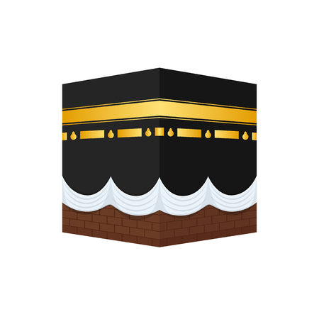 Illustration for Muslim shrine of Sharif Kaaba, in courtyard mosque in Mecca. - Royalty Free Image