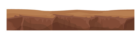 Illustration pour Game environment, landscape, surroundings. Texture of soil, earth, ground for level of game, layer of earth covered surface for ui game, ux interface. 2D gaming platform. Vector illustration. - image libre de droit