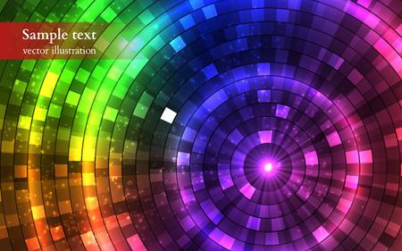 Ilustración de Abstract Colorful Disco Lights. Tunnel. Vector illustration - Imagen libre de derechos