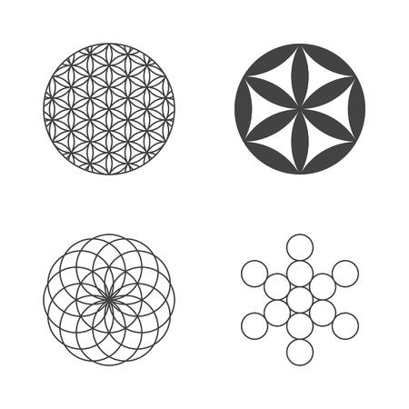 Illustration pour Flower of Life. set of icons. design elements. Vector - image libre de droit