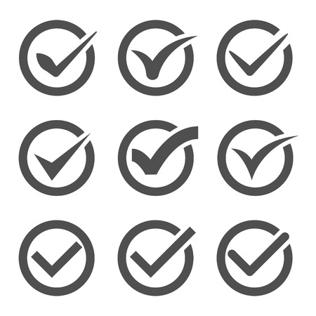 Illustration pour Set of nine different grey and white vector check marks or ticks in circles conceptual of confirmation acceptance positive passed voting agreement true or completion of tasks on a list - image libre de droit