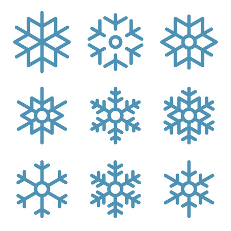 Illustration for Set of Nine Snowflakes thin line ftat design vector illustration - Royalty Free Image